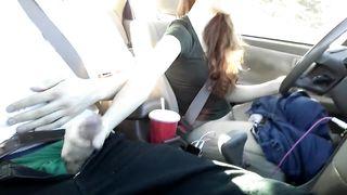 Risky Public Handjob and Cum in Redhead's Mouth in Car