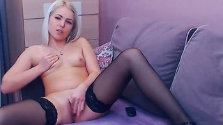 Gorgeous Blonde Strips And Masturbates Her Pink Pearl