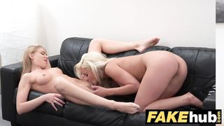 Female Agent Horny agent cums on beautiful blonde russians tongue