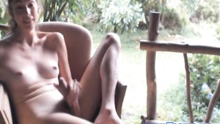 Hot Blondie Shemale Touching herself Outdoor