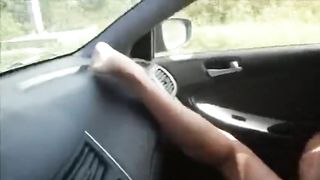 Fisting pussy in the car