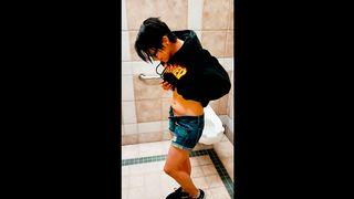 Latina Teen Girl Masturbating in Public Toilet