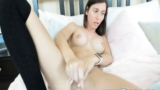 Busty Brunette Shemale Solo in her Bed