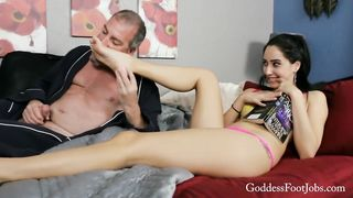 Young stepdaughter do footjob for grandpa
