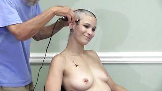 Naked Girl Krysta Shaves Her Head