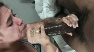Latina came over to Suck Ny BBC but her Husband kept Calling her Phone