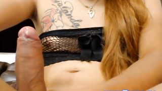 Cute Ladyboy Equipped her Cock with Saliva
