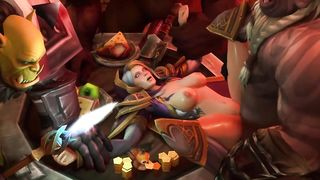 3D Toon xVideo SFM WOW Three Orcs Raped Female Elf HD 720p