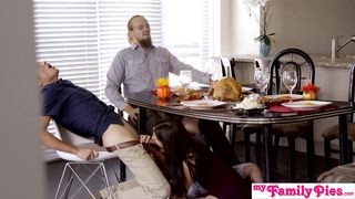 30 Minutes Full Sex Movie Cousin Blowing me under Thanksgiving Table - HD 720p