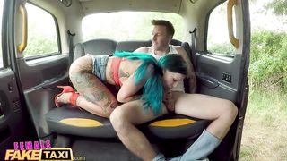 Female Fake Taxi Sexy Inked babe With Green hair Hard Fucked - Alexxa Vice - HD 720p