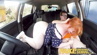 Fake Driving School Voluptuous Redhead Fucks in Car - Harley Morgan, Ryan Ryder - HD 720p