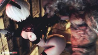 Nier: Automata 2B Have Sex With Evil Bestiality Monster - 26RegionSFM - 2018 - HD 1080p