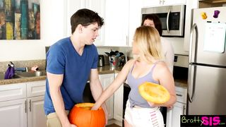 Bratty Sis - Halloween Pumpkin Fuck Brother Sister Hiding From Mom - Aubrey Sinclair - HD 720p