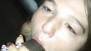Young Snowwhite drunk girl sucks big black cock