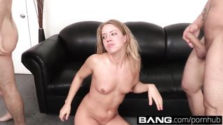 3 boys and 1 girl have sex on a porn casting - Candice Dare, James Deen - HD 720p