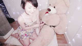 Innocent Short Haired Babe Have Strapon Sex With The BIG Teddy Bear - HD 720p