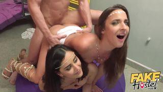 Fake Hostel - 2 Arab Sister Princess Have Threesome Sex First Time - Amirah Adara, Max Dior - HD 720p