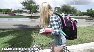 BangBus - Biker schoolgirl have sex with a stranger - Lily Rader - HD 720p