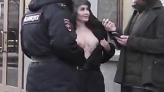 Russian Cops Show Tits For Strangers Febryary 2019