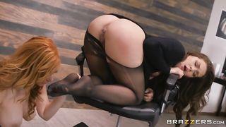 Lesbian Porn New 2019 Brazzers - Playing Footsie - Kimber Woods, Lauren Phillips - SD 480p