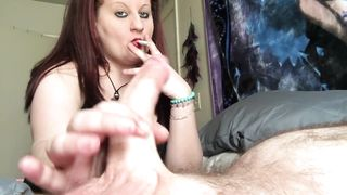Smoking Handjob! Hotwife Smoking and Stroking Hubby's Cock & Flashes Tits (pornhub) HD 720p