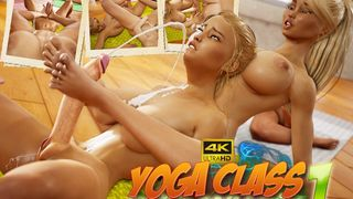 Big tits lesbian futa beauties having yoga tantric sex in a cool animation