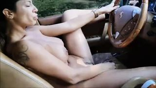 Naked Girl Deep Throating and Fucking Dildo while Driving on Road