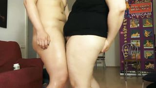 Two Chubby Moms Play With Strap On