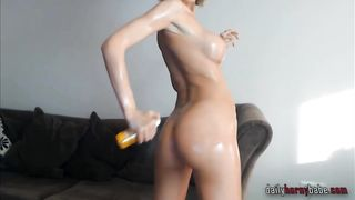 European blonde gets oiled up on webcam