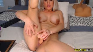Sexy Blonde Cutie Fucking Her Vulva With Dildo