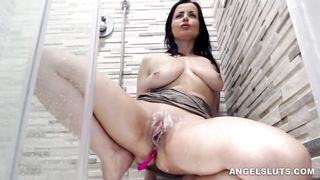 naughtyelle show060719 - milf, amateur, brunette, shower, fingering, masturbation, solo, busty, shavedpussy, mom