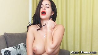Brunette with Perfect Body Fingers Fuck Pussy